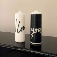 Design Kerze I love you, weiß 22 cm, Love Edition