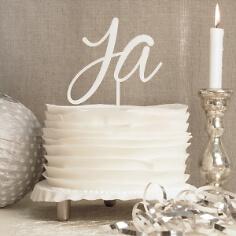 Cake Topper Ja in Weiß