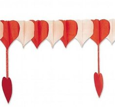 Girlande Herzen rot-weiß