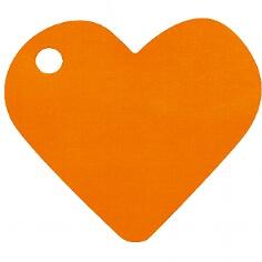 """Hochzeitsdeko Anhänger """"Herz"""" in Orange"""