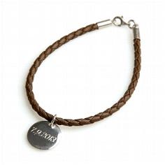 Armband mit Wunschgravur, Lederoptik, braun, 18 cm