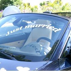 """Autoaufkleber """"Just married"""" zur Hochzeit"""