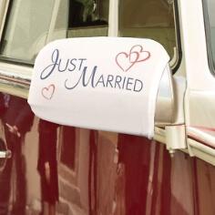 Autobikini Just Married Überzug für Autospiegel