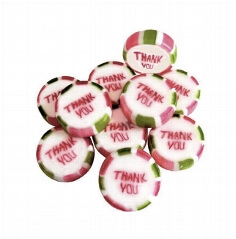 "Bonbons ""Thank you"", 250g (ca. 50 St.) - grün weiß gestreifte Bonbons"