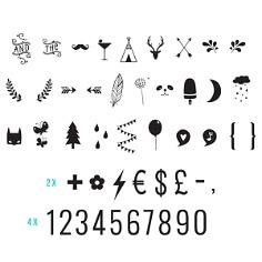 Buchstabenset Nummern und Symbole
