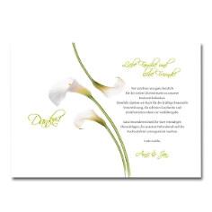 Dankeskarte mit weißen Callablumen - Innenseite und Pergament