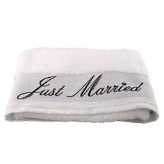 Duschtuch Just Married in Weiß