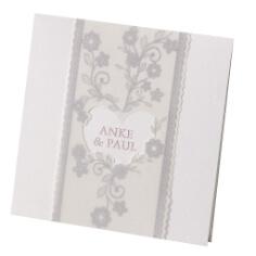 """Einladungskarte """"Vivienne"""" mit Vintagespitzen-Print"""