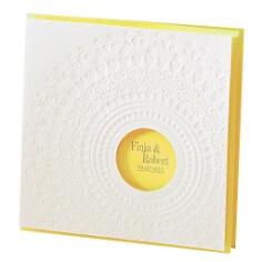 Gelbe Hochzeitseinladung mit Perlmuttglanz