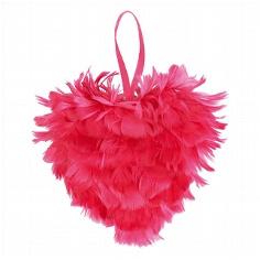 Federherz in Pink zur Hochzeitsdeko