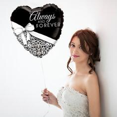 """Folienballon Herz """"always and forever"""", schwarz-weiß, frau"""