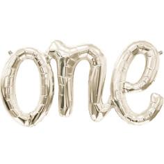 """Folienballon Schriftzug """"one"""", weiss gold"""