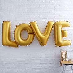 Folienballon Buchstaben LOVE, gold, H. ca. 100cm