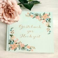 Gästebuch mit Blüten mintgrün