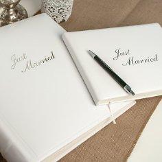 Fotoalbum Just married aus weißem Leder