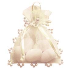 Gastgeschenk Athene mit Perlen in Creme