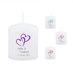 Gastgeschenk-Kerze zur Hochzeit mit Herzmotiv