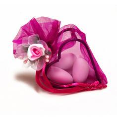 Gastgeschenk Kreta pink mit Hochzeitsmandeln