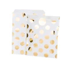 Gastgeschenk-Tüte zur Hochzeit mit goldenen Punkten