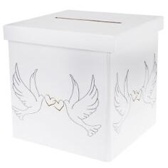 Elegante Geschenk oder Briefbox mit Taubenpaar-Aufdruck - HÜbsche Geschenkbox zur Hochzeit