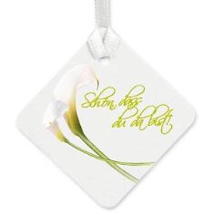 Geschenkkärtchen mit weißen Callas und Text
