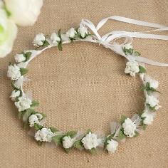 Haarkranz Blumenmädchen Rosen creme-grün