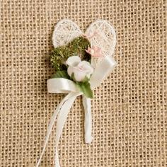 """Hochzeitsanstecker """"Doppelherz"""", champagn-rosa"""