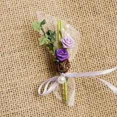 """Hochzeitsanstecker """"Rosen und Efeu"""", flieder"""