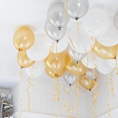 Ballon Hochzeitsdeko Gold und Silber