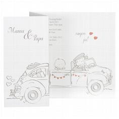 """Hochzeitseinladung """"Alicia"""" - weiße Hochzeitseinladung mit Auto"""