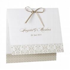"""Hochzeitseinladung """"Aurelia"""" - cremefarbene Hochzeitseinladung mit taupefarbenen Ornamenten"""
