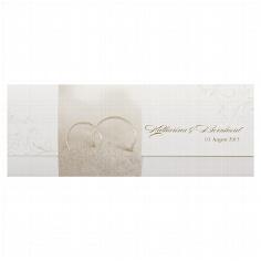 """Hochzeitseinladung """"Ellen"""" - cremefarbene Hochzeitseinladung mit Ringen"""
