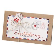 """Einladung zur Hochzeit """"Kim"""" im Luftpost-Design"""