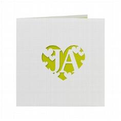 """Hochzeitseinladung """"Lori"""" - weiße Hochzeitseinladung mit grüner Innenkarte"""