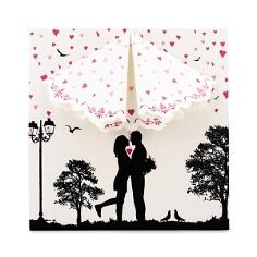 Hochzeitseinladung Stella Scherenschnittoptik mit Herzen