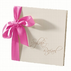 Hochzeitseinladung Sylvie mit pinker Satinschleife