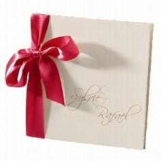 Hochzeitseinladung Sylvie creme-rot