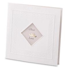 Weiße Einladungskarte zur Hochzeit Marie