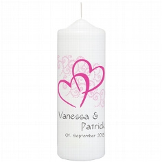 "Hochzeitskerze ""Herzen"", personalisiert, pink"