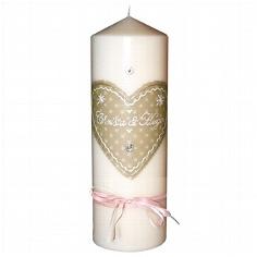 Hochzeitskerze Herzig beige - mit Namen und Hochzeitsdatum