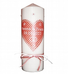 Hochzeitskerze Herzig rot - mit Namen und Hochzeitsdatum