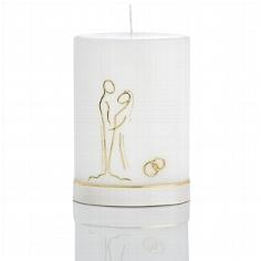 Hochzeitskerze mit romantischem Brautpaarmotiv in Gold