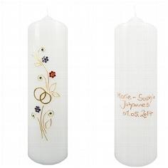 Hochzeitskerze Kristall-Blumen personalisiert