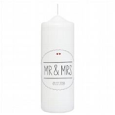 """Hochzeitskerze """"Mr & Mrs"""", schwarz, personalisiert"""