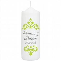 """Hochzeitskerze """"Vintage Dekor"""", personalisiert, grün"""