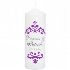 "Hochzeitskerze ""Vintage Dekor"", personalisiert, lila"
