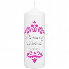 """Hochzeitskerze """"Vintage Dekor"""", personalisiert, pink"""