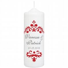 """Hochzeitskerze """"Vintage Dekor"""", personalisiert, rot"""