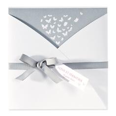 """Hochzeitskarte """"Jelena"""" in Grau-Weiß"""