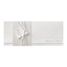 """Hochzeitseinladung """"July"""" mit Banderole und Lederband"""